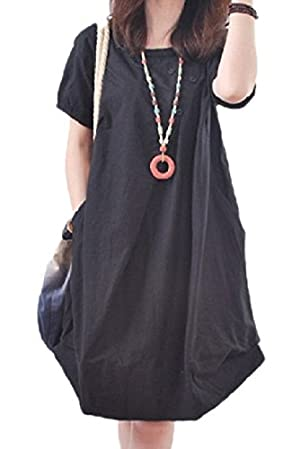 【Smile LaLa】 レディース ワンピース ワンピ チュニック 半袖 薄手 春 夏 無地 シンプル ゆったり ミニ 丈 (ブラック, XL)