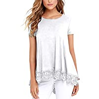 RICHPORTS Women Casual Loose Round Neck Lace Short and Long Sleeve T Shirt Tops