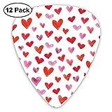 Red Hearts ピック ギターピック 12個入り それぞれ厚さ カラフル 12枚セット 多種多色Thin 0.46mm、Medium 0.71mm、Heavy 0.96mm 各4枚 ティアドロップピック
