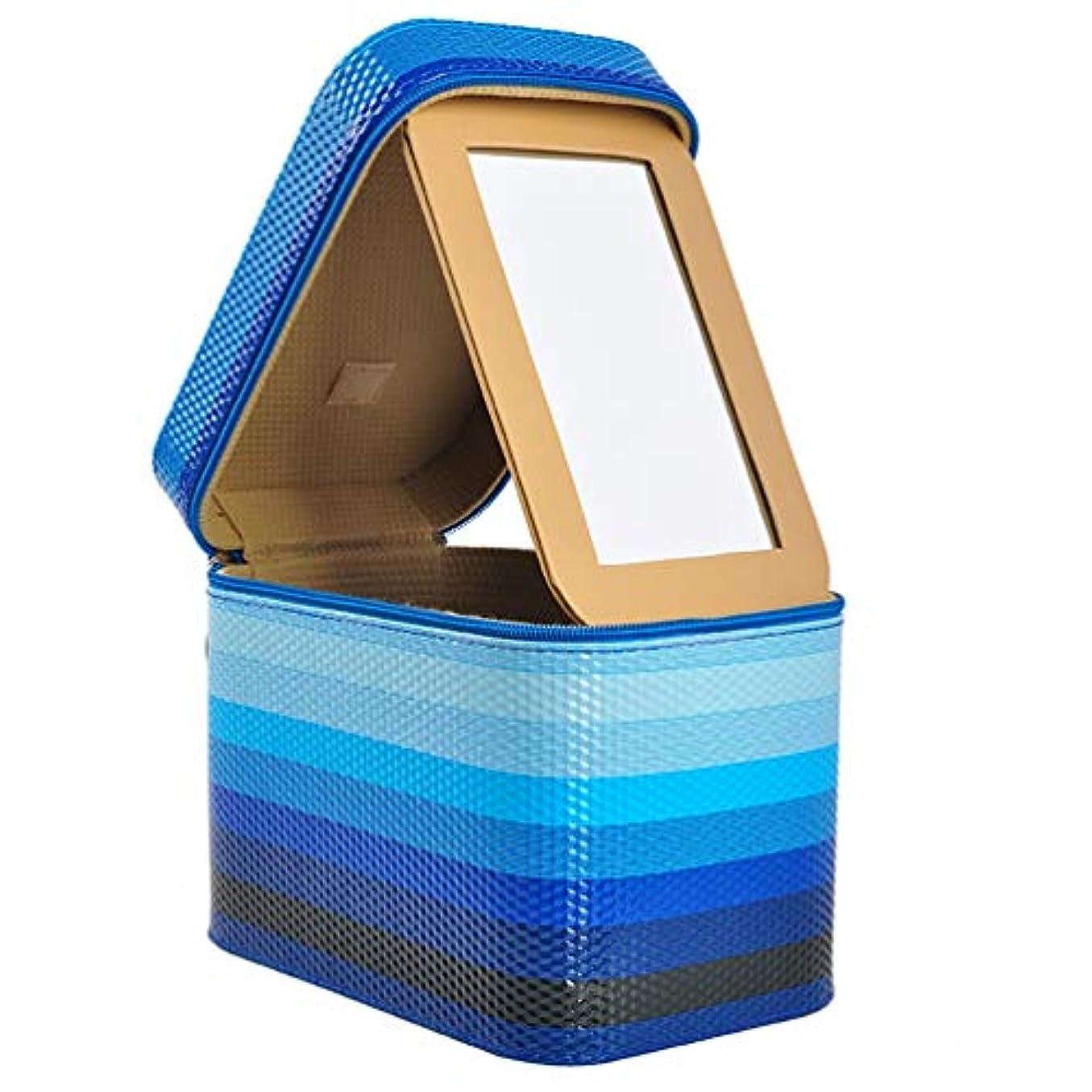 助けてパーチナシティ実証する[カタク]メイクボックス コスメボックス 大容量 鏡付き 化粧ボックス おしゃれ 取っ手付 携帯便利 化粧道具 メイクブラシ 小物 出張 旅行 機能的 PUレザー プロ仕様 きらきら 化粧ポーチ コスメBOX ブルー