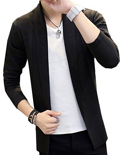 [エムズ ミミ] ロング ニット カーディガン スタイリッシュ ストレッチ メンズ 4色 グレー ブラック ネイビー レッド M〜XXL