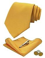 [ジェミギンズ]JEMYGINSメンズ ネクタイ ゴールド ピン カフス ボタン チーフ ビジネス 就活 結婚式 入学式 卒業式 二次会 冠婚葬祭 パーティー 父の日 プレゼント ギフトボックス付き 12