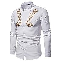 VITryst メンズプラスサイズプレミアムスパンコールシングルブレストワークシャツ White XS