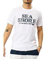 JIGGYS SHOP ロゴ Tシャツ メンズ 半袖 Vネック クルーネック スリムフィット 20柄 ボックスロゴ サーフ系 S gホワイト