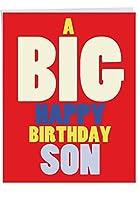"""j6349bdgジャンボユーモラスな誕生日グリーティングカード: Big HB息子、封筒付き(大きいサイズ: 8.5"""" X 11"""")"""