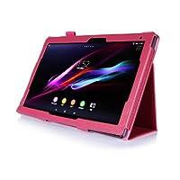 SP-MART(オリジナル)SONY Xperia Z2 Tablet ケース DOCOMO SO-05Fカバー AU SOT21 case 全6色ソニ エクスペリア Z2 タブレット専用cover PUレザーケース スタンド機能 ライチ模様 litchi stria PU Leather Case for SONY Tablet Z2 Sony tablet pc case スマートカバー esd3006_53 (Fuchsia)
