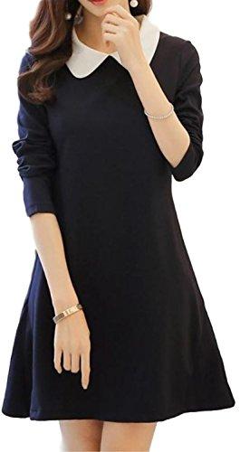 [해외](아스뻬루시오) aspersio 여성 둥글 린 깃 a 라인 플레어 원피스 긴팔 라운드 칼라 예쁘게 원피스/(Asperusio) aspersio Ladies` round collar a line flare dress long sleeve round collar beautiful one piece