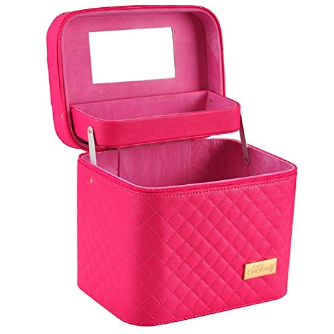 健康警官うめきメイクボックス コスメボックス コスメBOX 大容量 収納ボックス 二層 2段タイプ 化粧ポーチ メイクポーチ 携帯便利 女性用 女の子 ミラー付き 化粧品 取っ手付き おしゃれ 鏡付き 機能的 防水 化粧箱