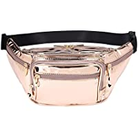 Hearty Trendy Fashion Signature Series Faux Leather 6 Pockets Fanny Pack Waist Pack