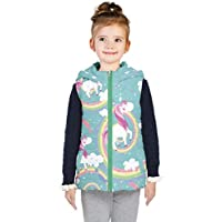 PattyCandy Light Girly Unicorns and Rainbows Patterns on Kids Unisex Puffer Vest with Hoodie