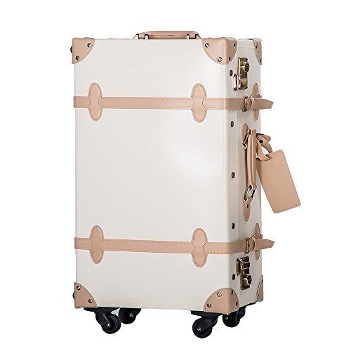 (RH) (TANOBI) トランクケース スーツケース TSAロック 四輪 超軽量 キャリーケース キャリーバッグ 【復古主義】 PVC03 (M, Aアイボリー)