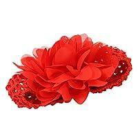 SODIAL 女の子の子供のシフォン花のヘッドバンド 装飾(赤)