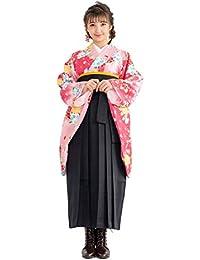[キョウエツ] 袴セット 二尺袖着物 無地袴 花和柄 4点セット(着物、袴、袴下帯、襦袢) ジュニア