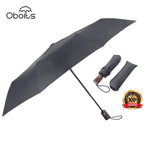 obolts 折り畳み晴雨兼用傘 ワンタッチ自動開閉 新強化グラスファイバー 耐風撥水加工傘 収納ポーチ付き - 十本骨 ブラック