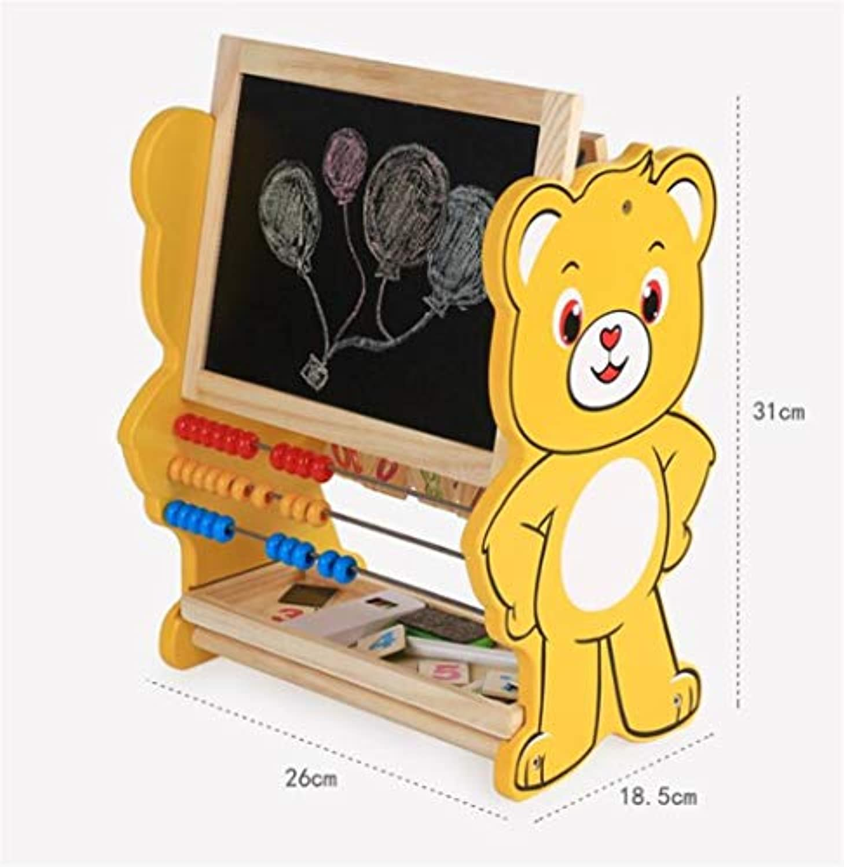 幼児期のゲーム 多機能ベアフリップボードコンピューティング磁気両面黒板早期教育おもちゃ(イエロー)