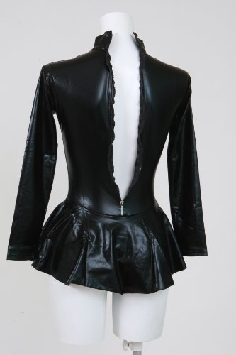 Skirted Leotard black, shiny metallic long sleeve high neck (AR04)-oversized 100 kg size
