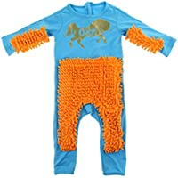 Prettyia Baby Mop Romper Outfit Unisex Boy Girl Polishes Floors Cleaning Mop Suit Autumn Winter Kids Crawling Toddler Swob Jumpsuit - Blue+Orange 80cm, as described