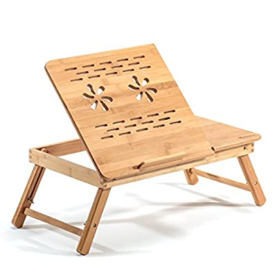 "Portable Bamboo Laptop Stand Desk, Foldable Breakfast Serving Bed Tray Table with Drawer Best for 17"" Notebook"