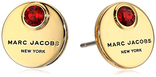 Marc Jacobs マーク マークジェイコブ ピアス イアリング Logo Disc Enamel Stud Earrings (Black) (Red/Gold)