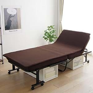 アイリスオーヤマ 折りたたみベッド 低反発マット付き ハイタイプ 完成品 ブラウン OTB-MTN