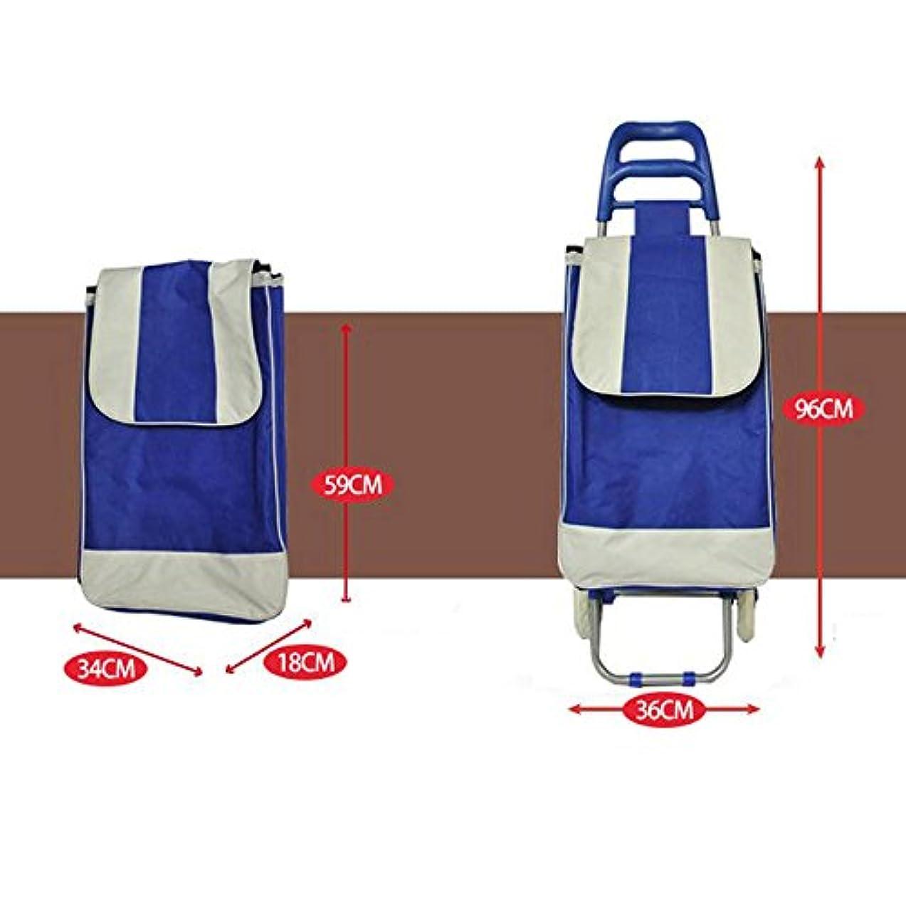 落花生感謝祭確保するJTWJ ポータブルファブリックショッピングカートショッピングカート階段を登るFoldable 2ラウンドブルーレッド96 * 36 * 20cm (色 : 赤)