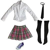 Lovoski かわいい  1/6スケール  学生 制服  シャツ スカート  & キャンバスシューズ 12 インチ 女性アクションフィギュアボディ対応 全9色選べる  - ピンク+パープル