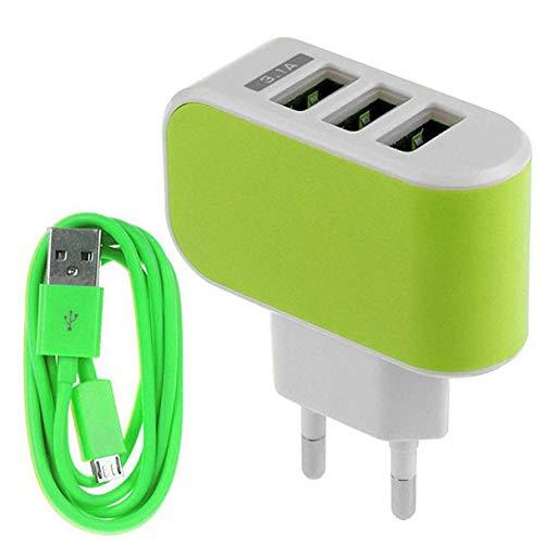 Jonerytime機能3.1AトリプルUSBポート壁ホームトラベルAC充電器アダプター EU + マイクロUSBケーブル。 グリーン