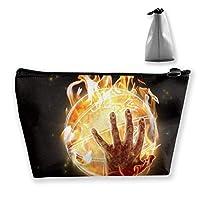 燃えるような手遊びバスケットボール女性化粧品バッグ多機能トイレタリーオーガナイザーバッグ、ジッパー付きのポータブルポータブルポーチトラベルウォッシュストレージ容量(台形)