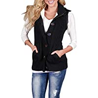 Imily Bela Women's Cable Knit Sleeveless Hoodies Button Down Sweater Vest Pockets