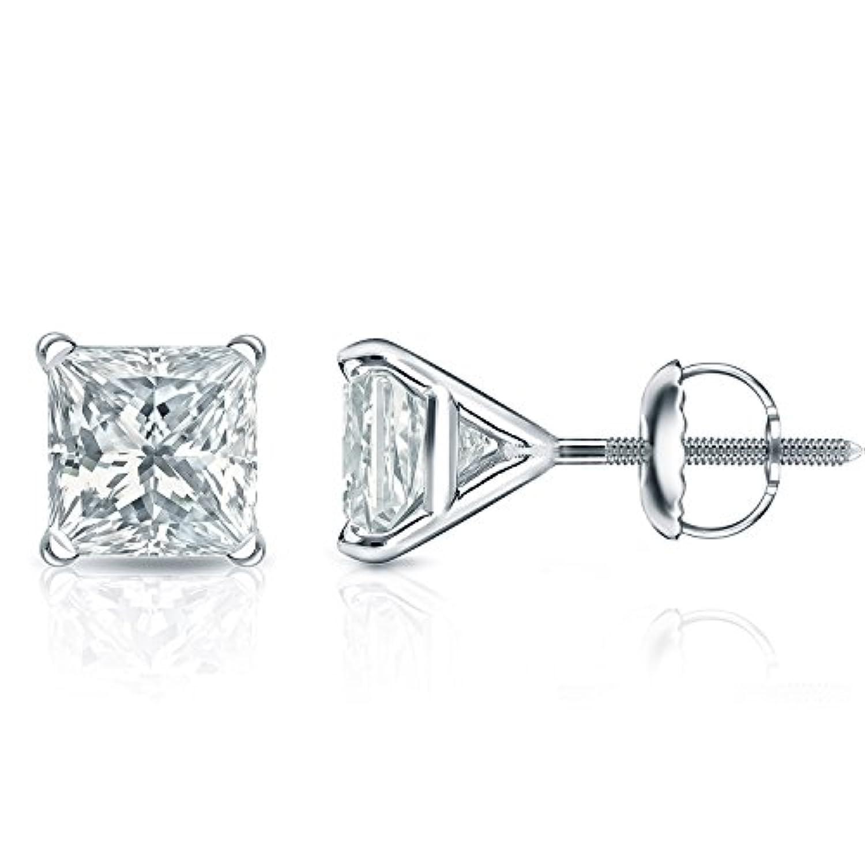 プラチナプリンセスカット4プロングMartiniダイヤモンドメンズスタッドイヤリング( 1 / 4 – 2 ct、H - I、i1 - i2 ) screw-backs