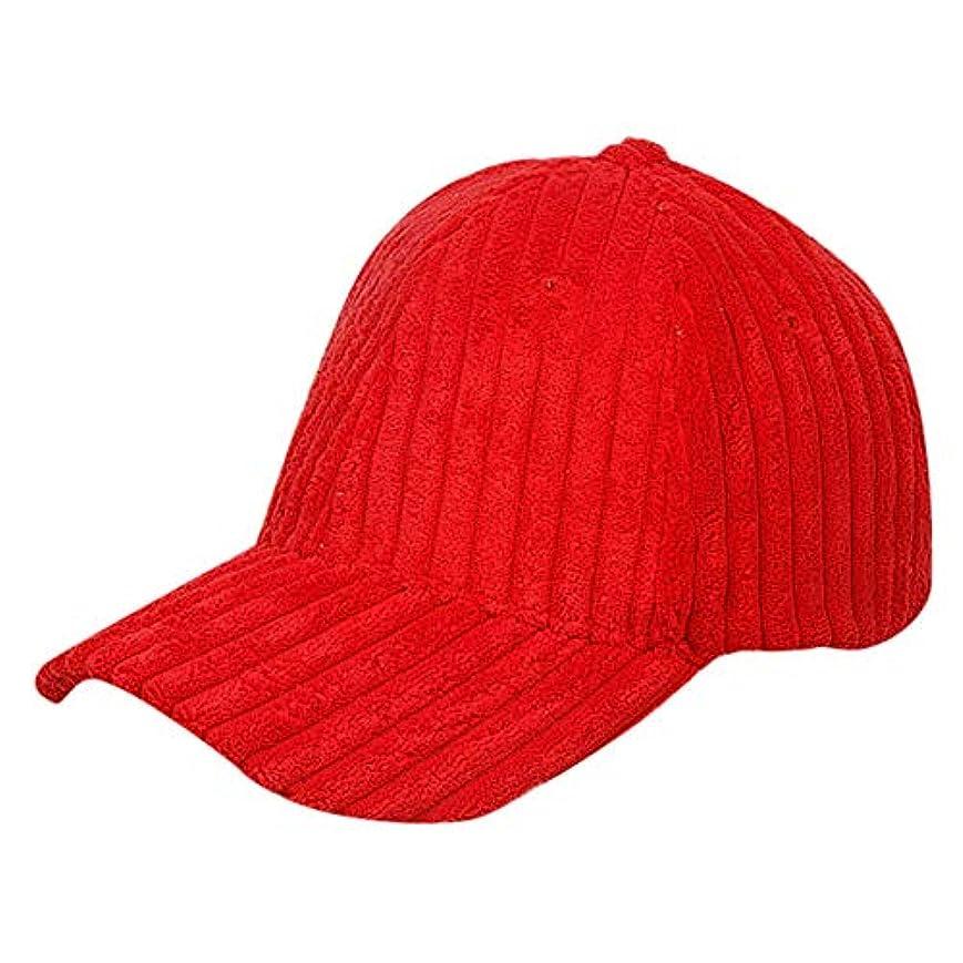 Racazing Cap コーデュロイ 野球帽 迷彩 冬 登山 通気性のある メッシュ 帽子 ベルクロ 可調整可能 ストライプ 刺繍 棒球帽 UV 帽子 軽量 屋外 Unisex Hat (赤)