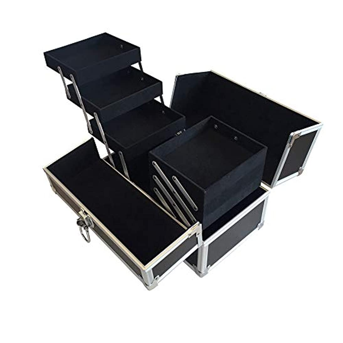 事前演じるスラムリライアブル コスメボックス RB001-BK 鍵付き プロ仕様 メイクボックス 大容量 化粧品収納 小物入れ 6段トレー ベロア メイクケース コスメBOX 持ち運び ネイルケース