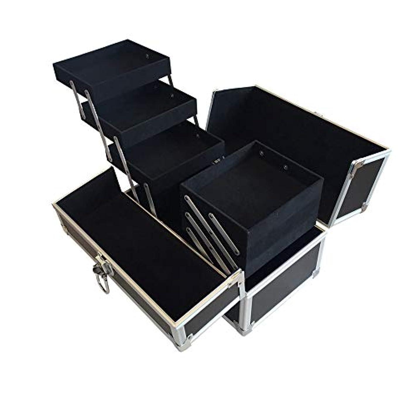 レンダーバッフルなだめるリライアブル コスメボックス RB001-BK 鍵付き プロ仕様 メイクボックス 大容量 化粧品収納 小物入れ 6段トレー ベロア メイクケース コスメBOX 持ち運び ネイルケース
