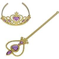 XiangGuanQianYing Tiaras and Crowns For Little Girls Princess Wand and Tiara Gold Plastic Crowns Lavender Tiara [並行輸入品]