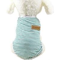 ふく福 可愛い 綿製 小中型犬服ストライプ Tシャツ 犬服 ドッグウェア ベスト お散歩 春夏服 カジュアル ファッションネイビー風 (M, グリーン)