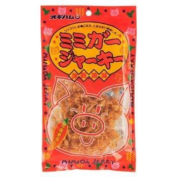 ミミガージャーキー 28g×4袋 オキハム ミミガー(豚耳皮)を島唐辛子でピリ辛に仕上げたジャーキー コリコリ食感 おつまみや沖縄土産におすすめの大人の珍味
