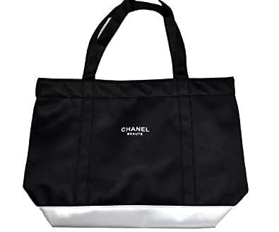《CHANEL》シャネル 黒×銀 ブラック×シルバー BEAUTEロゴ トートバッグ 並行輸入品