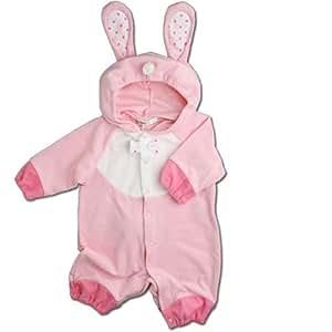 【うさぎ】着ぐるみ フード付き カバーオール 70cm ベビー コスチューム ピンク 衣装 年賀状 ハロウィン