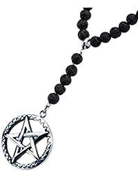 Pentagram Star Amuletステンレススチールand Lavaビーズネックレスメンズ
