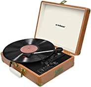 mbeat Aria Retro Turntable Player Bluetooth & USB Recording with Built-in Twin Speakers Brown