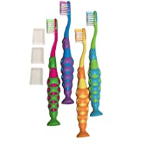 4-Pack of Kids Childrens Toddler Soft Bristle Easy Grip Toothbrush Set w/ Suction Base and Travel Dust Covers