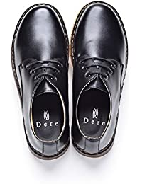 Dere (デーレ) メンズ 革靴 カジュアルシューズ レースアップシューズ 紳士靴 通気性 黒