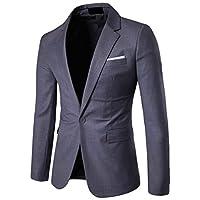 chenshiba-JP Men's Casual Blazer Jacket Slim Sport Coats Lightweight One Button Jacket Dark Grey M
