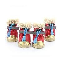 冬のペット犬の靴光反射ストリップ防水犬ブーツ暖かいゴムノンスリップのための猫小ビッグ大初恋のゼリー,Red Velcro,XL