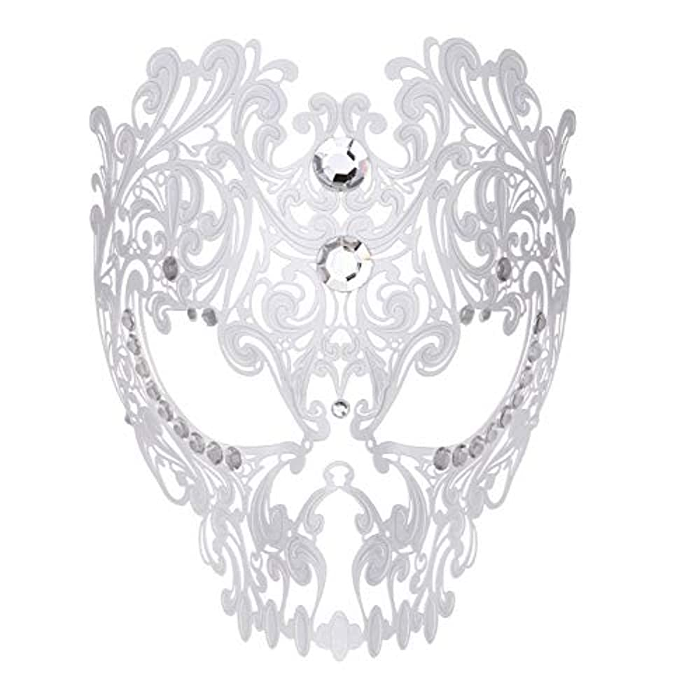 戻る気楽な本物ダンスマスク フルフェイスエナメル金属象眼細工中空マスクナイトクラブパーティーロールプレイングマスカレードマスク ホリデーパーティー用品 (色 : 白, サイズ : Universal)