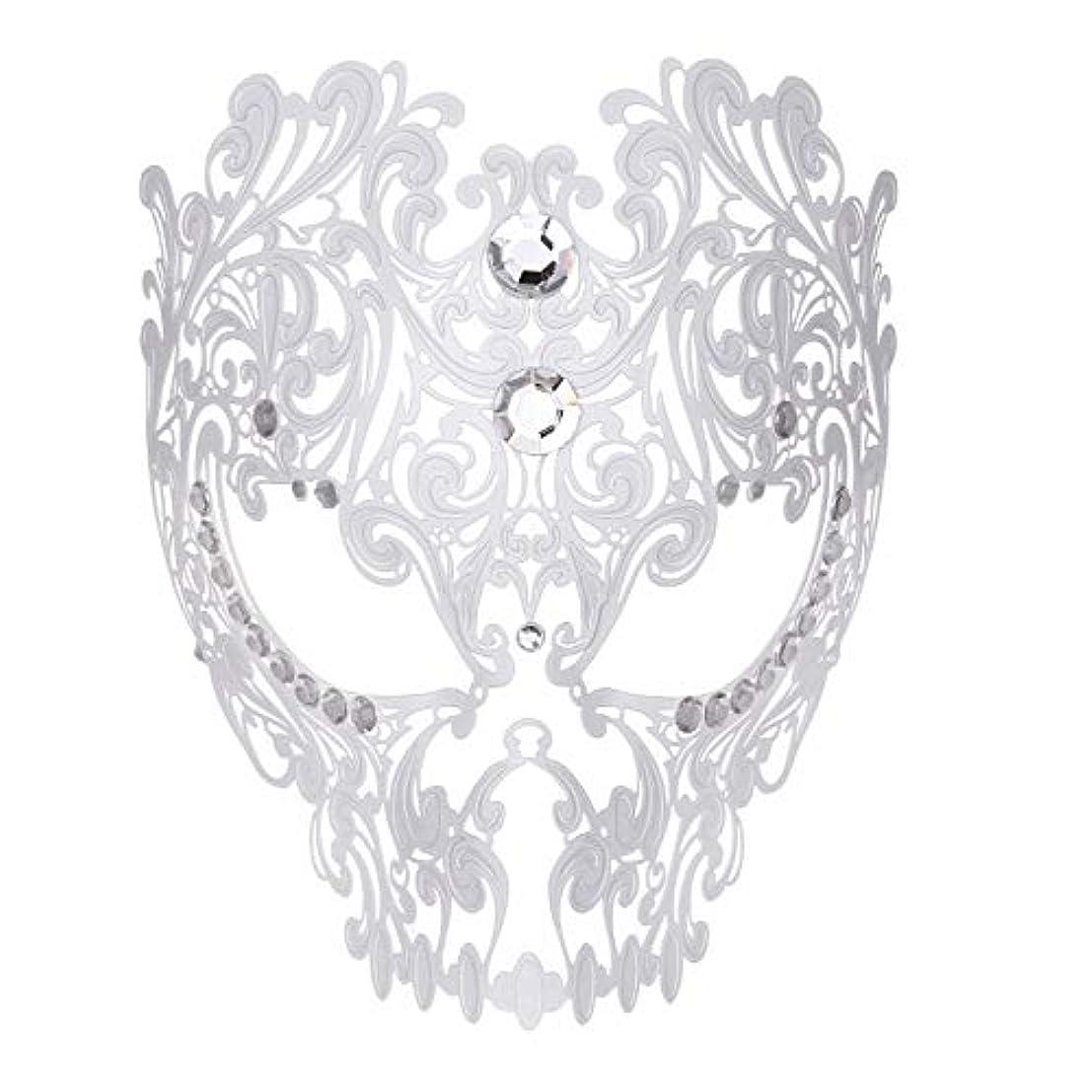 パラシュート浸す承知しましたダンスマスク フルフェイスエナメル金属象眼細工中空マスクナイトクラブパーティーロールプレイングマスカレードマスク ホリデーパーティー用品 (色 : 白, サイズ : Universal)
