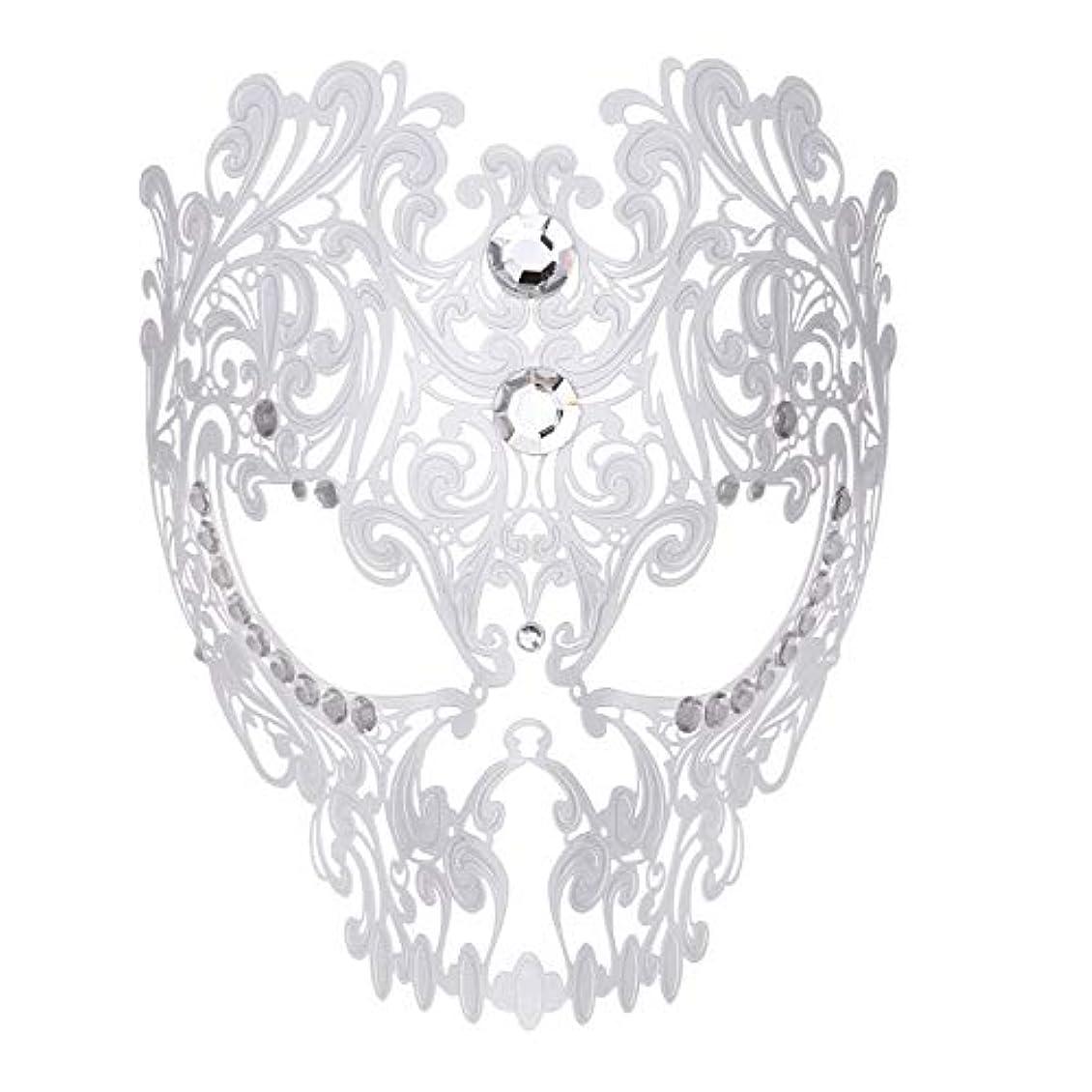 オーロックフルーツ鹿ダンスマスク フルフェイスエナメル金属象眼細工中空マスクナイトクラブパーティーロールプレイングマスカレードマスク ホリデーパーティー用品 (色 : 白, サイズ : Universal)