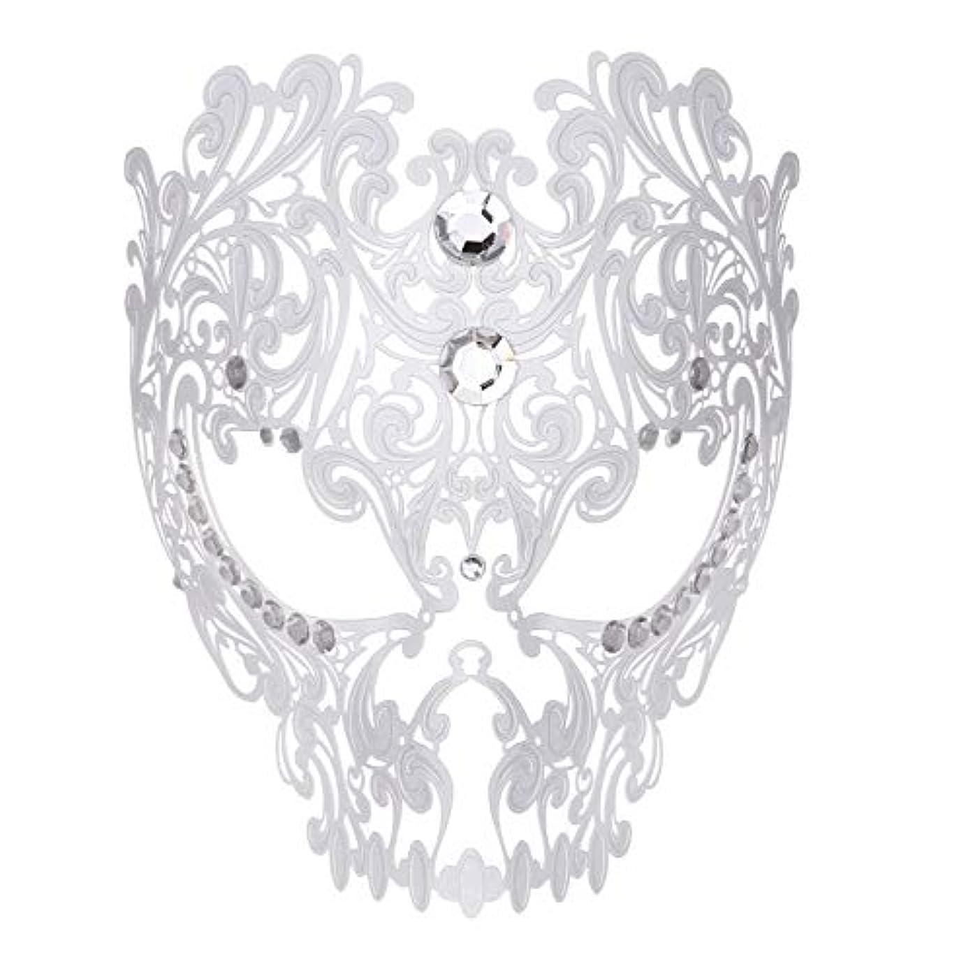 救出休憩する物質ダンスマスク フルフェイスエナメル金属象眼細工中空マスクナイトクラブパーティーロールプレイングマスカレードマスク ホリデーパーティー用品 (色 : 白, サイズ : Universal)