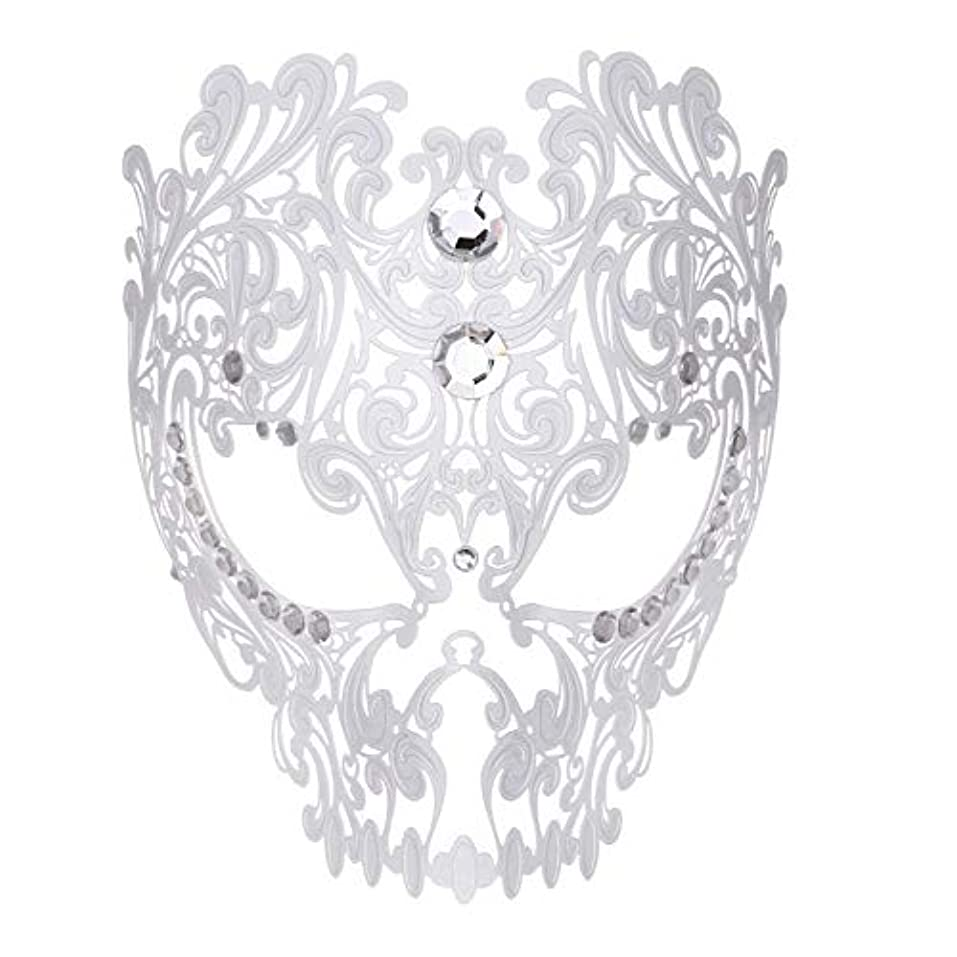 秘書ペダルスパークダンスマスク フルフェイスエナメル金属象眼細工中空マスクナイトクラブパーティーロールプレイングマスカレードマスク ホリデーパーティー用品 (色 : 白, サイズ : Universal)