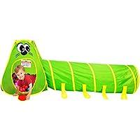 PlayO Caterpillar Crawl トンネルとキッズテントコンボ キャリーケース付き 早期教育と筋肉の発達に 折りたたみ式ポップアッププレイハウス 屋内/屋外/子供用 楽しいアクティビティ 誕生日プレゼントに最適。